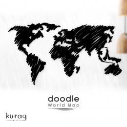 Metal Dünya Haritası, not panosu poster :  Doodle